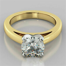 2.00 Ct Round Cut Solitaire Diamond Engagement Ring 14K Yellow Gold Over