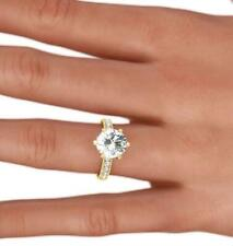 Prong Side Stones 18 Kt Yellow Gold Diamond Ring Round Cut Vs1 3.5 Carats 6