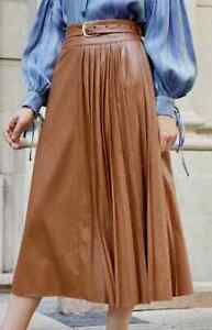 Women Brown synthetic leather pleated Skirt by Wolf L