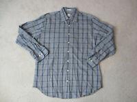Peter Millar Button Up Shirt Adult Large Gray Blue Plaid Long Sleeve Casual Men
