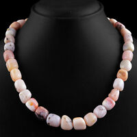 440.00 CTS EARTH MINED RICH PINK AUSTRALIAN OPAL BEADS SINGLE STRAND NECKLACE