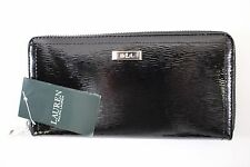 NWT RALPH LAUREN Women's Black 100% Patent Leather LOWELL Zip Around Wallet