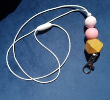 Handmade Lanyard - Lightweight wooden beads GOLD & PINK