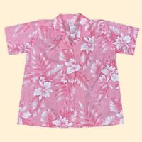 VINTAGE Orchid Fashions Mens Top Large Pink Floral Button Up Hawaiian
