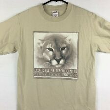 Vintage Exotic Feline Mens T Shirt Beige 90s Indiana Rescue Center Mountain Lion