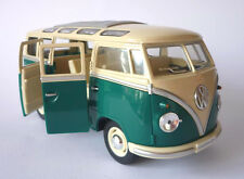 VW Camper Van Bus 17cm 1/24 Scale Toy Model Green Cream Boys Girls Boxed Present