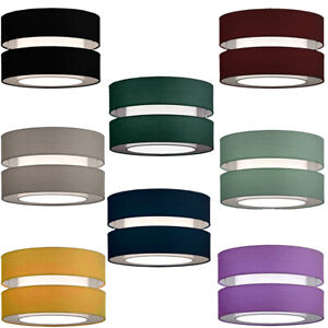 CGC Black Blue Green Grey Yellow Red 2 Two Tier Layer Shade 30cm Ceiling Pendant