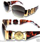Medusa Metal Gold Logo Brown Shield Aviator Sunglasses Vintage Hip Hop Rapper