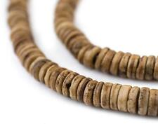Brown Bone Button Beads 6mm Nepal Disk Large Hole 24 Inch Strand