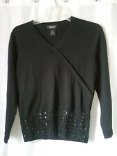 willi smith black silk blend beaded spring sweater career dress club M v neck