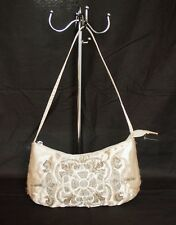 H&M ladies light gold satin zip fasten beaded grab bag