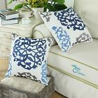 2PCS Blue Gray Cushion Cover Pillows Shell Three-tone Floral Embroidered 45X45cm
