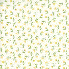 Moda Fabric Farmers Daughter Bloom Toss Vanilla Yellow - Per 1/4 Metre