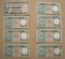 JOB LOT HONGKONG & SHANGHAI BANKING CORPORATION 10 DOLLAR NOTES 1976 1985 1986