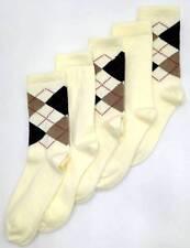 $50 BLOOMINGDALE'S Women's 5 Pair Pack BEIGE BROWN ARGYLE CREW SOCKS One-Size