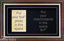 New Large 3D Mahogany Gold Trim Box Display Photo Frame Medals Keepsakes Casts