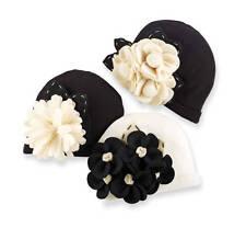 NEW Mud Pie Diva Felt Flower Hat Black White 0-12 Months - DISCONTINUED
