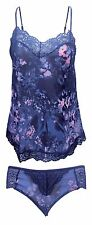 Womens Floral Light Camisole Vest and Knickers Nightwear Set With Lace Briefs 8-10 UK RT Blue