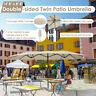 15ft Double-sided Twin Patio Umbrella Sun Shade Crank Outdoor Garden Market Sand