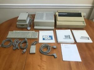"Vintage Apple II GS Computer Lot Imagewriter 5.25"" 3.5"" Drive Mouse Keyboard"