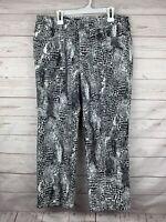 Chico's platinum denim snakeskin print capri pants jeans sz 1 6-8