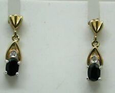 Lovely Pair of Two Colour 9 Carat Gold Sapphire And Diamond Dropper Earrings