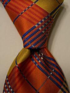 STEVEN LAND Men's 100% Microfiber Necktie Designer PLAID CHECK Orange/Multi EUC