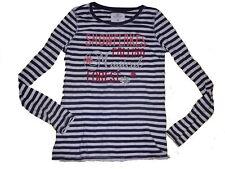 H & M tolles Langarm Shirt Gr. 164 / 170 blau-weiß gestreit mit Schriftzugmotiv