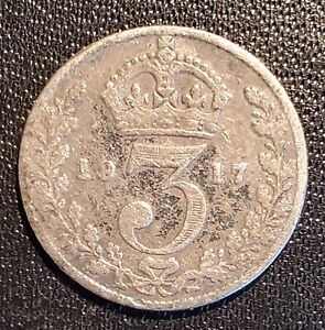 UK Great Britain 1917 Threepence - Silver - George V (2)