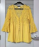 yellow lace contrast button front bell slev top 2XL