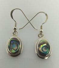 Sterling Silver OvalFramed Abalone/Pau Shell Drop Dangle Earring