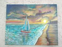 Original Acrylic Painting 11 x14 Sailing on  Stretch Canvas, Beach, Coasta Art