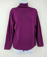Chico's Turtleneck Sweater Purple Ribbed Rayon Poly Blend Size 2 (L/12)