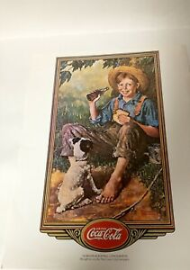 Coca-Cola Collectable Lithograph Print Norman Rockwell 1990's Boy and Dog