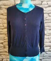 LK Bennett navy blue Silk & Cotton blend Cardigan Size medium 12 uk