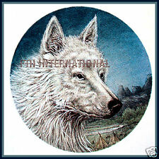 """A46 ~ White Wolf Head on 6 Ceramic Decals, 3"""" round Wolves Indian teepee Timber"""