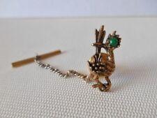Vintage Ambassador Bronzetone & Green Roadrunner Tie Tack