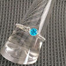 Bague Chaîne Argent 925 Zirconium Bleu serti clos Argent Taille 57