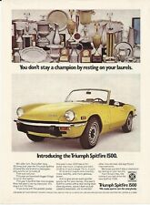 1973 Triumph Spitfire 1500 Yellow Convertible Photo Vintage Print Ad