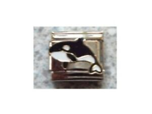 9mm  Italian Charms  E32  Orca Killer  Whale Fits Classic Size Bracelet