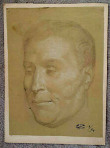 FILIPPO AGRICOLA, Pencil & Pastel on Paper, PORTRAIT, Signed 18th 19th Century