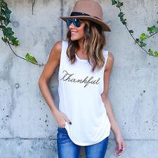 US Fashion Women Summer Vest Blouse Casual T-Shirt Tops Sleeveless Shirt S X82