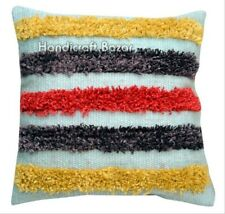 "2 Pcs Shaggy Cotton Cushion Cover 18"" Indian Wool Handmade Fringes Pillow Case"