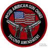 PROUD AMERICAN GUN OWNER iron-on PATCH 2nd AMENDMENT SEMI-AUTO 1911 PISTOL