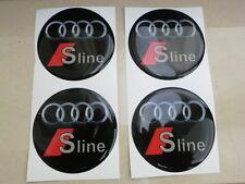 COPRIMOZZI KIT ADESIVO STICKERS 3D X 4 PZ 60 mm AUDI S LINE SLINE A1 A3 A4 A5 A6
