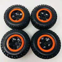 Traxxas Slash 2WD Front & Rear SCT Black, Orange Beadlock Wheels x4 5864 New
