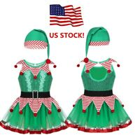 US Girls Kids Baby Fairy Christmas Costume Dance Tutu Dress Sequin Party Outfit