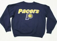 VTG Indiana Pacers Double Sewn Lettering and Logo Crewneck Sweatshirt Blue NBA