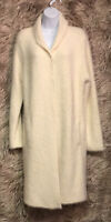 THE LIMITED Faux Fur Open Ivory Duster Front Pockets Sz L - NWT