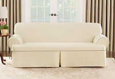 Sure Fit Cotton Canvas Loveseat Slipcover Natural with Cocoa Trim T Seat Cushion